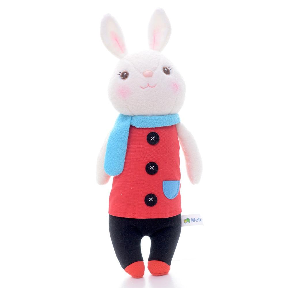 METOO Tiramisu Cute Bunny Rabbit Blue Scarf Plush Doll Toy Decoration For Girl Birthday Gift 12*4/30*10cm