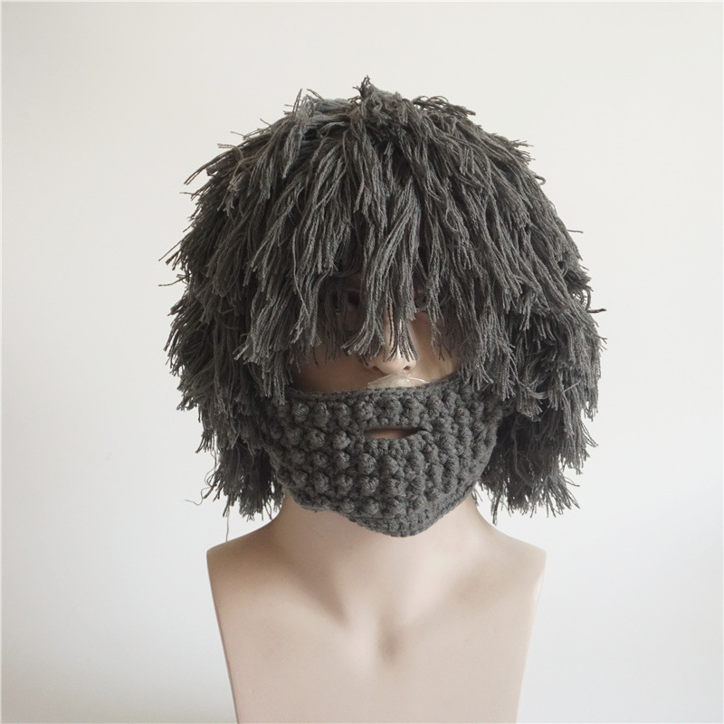 Wig beard hat for men Knitted beanies with windproof maskmale Funny cap hats autumn winter warm ski caps Caveman Hobo style stylish knitted warm winter hats outdoor windproof beanies hat camping hiking men face mask scarf collars thickening cap