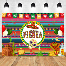 NeoBack Fiesta Backdrop Mexican Dress-up Photography Background Vinyl Theme Birthday Party Banner Backdrops