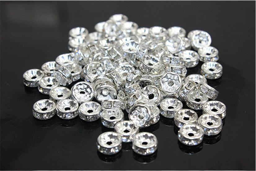 50pcs 6 8 10 12mm Gold Silver Plated Rhinestone Rondelles Crystal Shamballa  Beads Loose Spacer Beads for DIY Jewelry Making Z104-in Beads from Jewelry  ... d2c349b31fe3