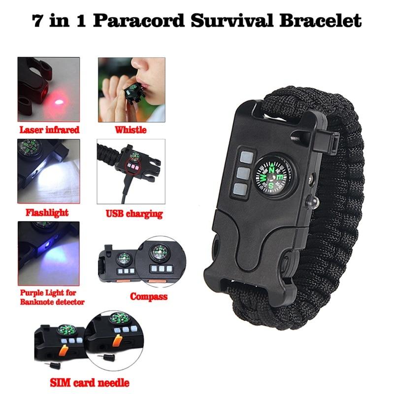 Multifunction Bracelet7-in-1 Outdoor Creative Outdoor Survival Laser/Flashlight/Help Light Hand-woven Infrared Bracelet 21-0040