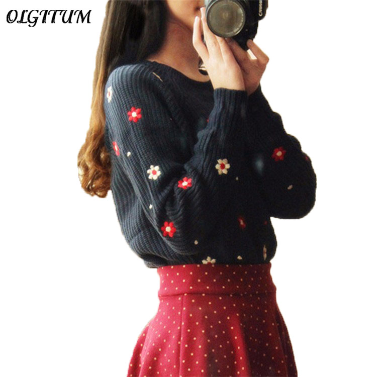 2017 New Hot Fashion Flower Brand Printed Top Women Sweater O neck Long Sleeve Loose Pullovers
