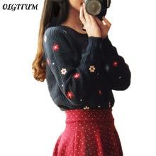 Новинка 2017 года Горячая Мода Цветочный Brand Printed Top Для женщин свитер с длинными рукавами и круглым вырезом свободные Пуловеры Трикотаж Дамы Женская одежда