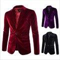 Горячей продажи Моды для мужчин пиджаки куртка Высокое качество вельвет Твердые 3 цвета Мужчины Костюм Пальто One Button Slim Fit Повседневная куртка пиджаки