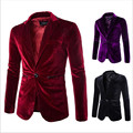 Venda quente Moda masculina blazers jacket Top Quality corduroy Sólidos 3 cores Homens Suit Brasão One Button Slim Fit blazers jaqueta Casual