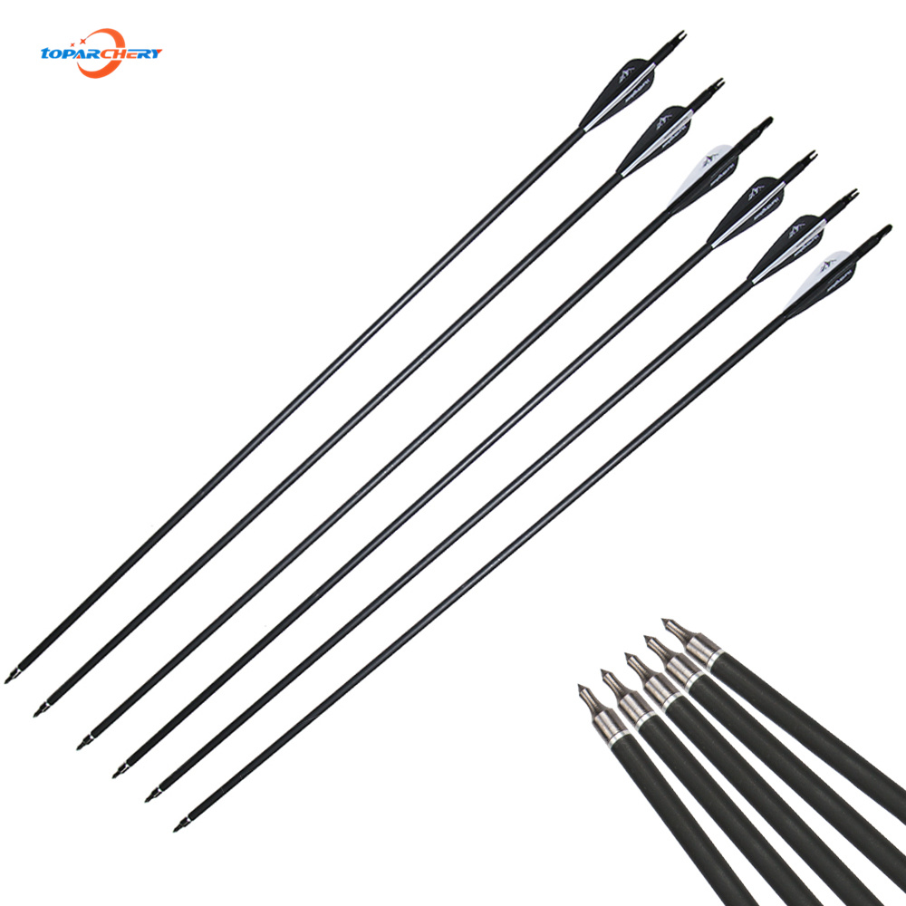 12 unidades / lote 30 pulgadas Spine 500 flechas Carbon Arrow con color blanco y negro para 30-60lbs Recurve / Compound Bow Archery Hunting