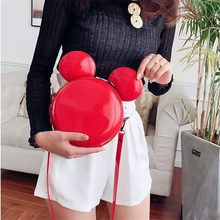 Hot New Fashion Design Women Mickey Shaped Bag Cute Funny Women Evening Bag Clutch Purse Chain Shoulder Bag for Birthday Gift hot sale sexy mouth design women lady evening clutch chain shoulder messenger bag red lips shaped purse leather women handbags