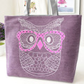 Fashion Canvas Woman Beach Handbag Animal Owl Printed Shopping Bag Ladies Crossbody Single Shoulder Tote Casual Bag fast ship