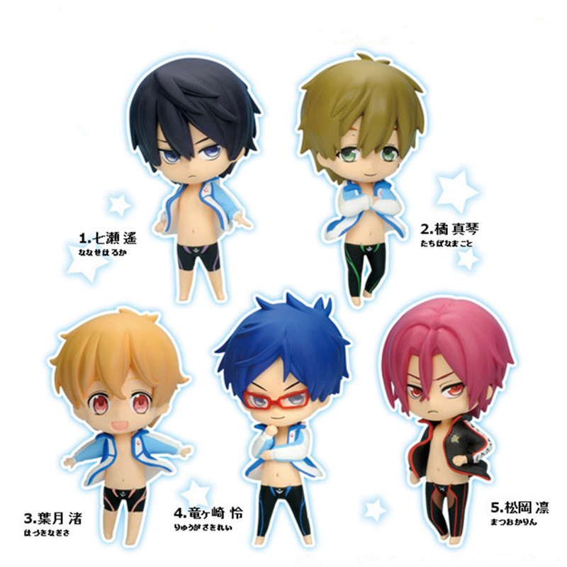 Cute Japanese Anime Free! Iwatobi Swim Club Rin Macoto Haruka Nanase Rei PVC Action Figure Collection Model Kids Toys 5pcs/lot