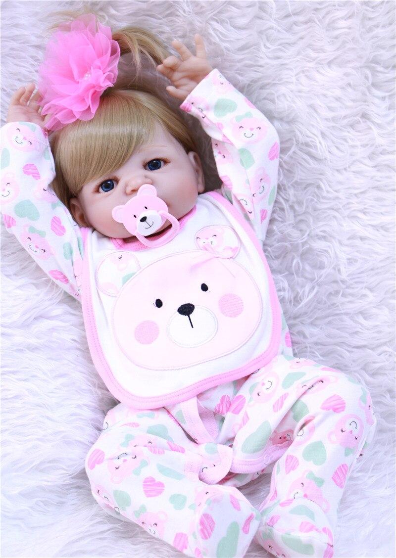 55cm corps entier Silicone Reborn bébé fille poupée jouets jouer maison bain jouet nouveau-né bébé anniversaire cadeau bebe princesse bonecas - 4