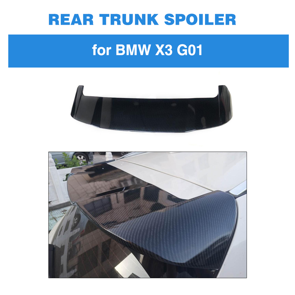 For BMW X3 G01 Not for X3M 2018 2019 ABS Rear Roof Spoiler Wing Boot Lip Carbon Look / Glossy Black Painted 2007 bmw x5 spoiler