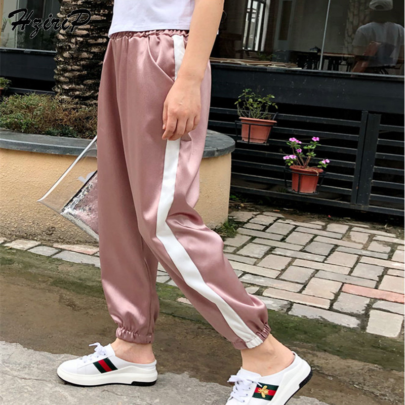 HziriP 2018 Hot Fashion OL Casual Harem   Pants   Loose Summer Flat Elastic High Waist Floral Elegant   Pants   &   Capris   for Ladies