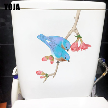 YOJA 18*23.4CM Fresh Watercolor Flower Bird Funny Toilet Decor Home Kids Room Wall Sticker Decal T1-1270 image