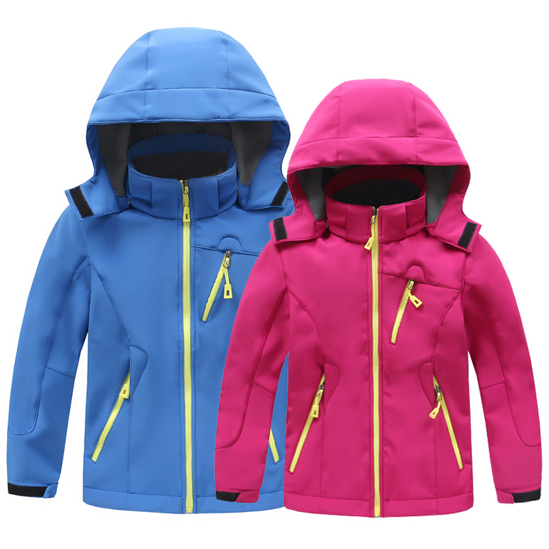 New Children Outdoor Waterproof Windproof Soft shell Thermal Jacket Boys Girls Keep Warm Fleece Outdoor Ski Sports Hooded Jacket