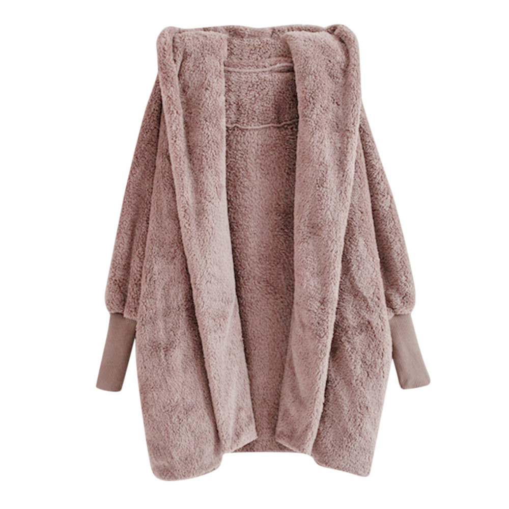 Women Hooded Coat Winter Warm Plush Pockets Cotton Coat Outwear Casual Hoodies Jacket Overcoat Top female outerwear  1