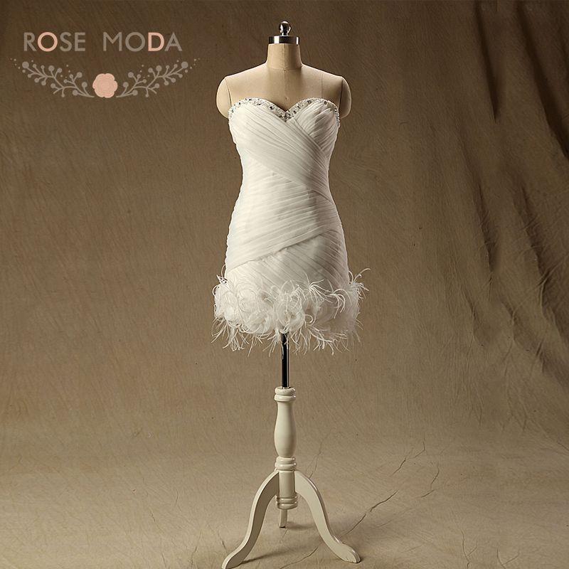 Rose moda organza short wedding dress with feathers for Short feather wedding dress