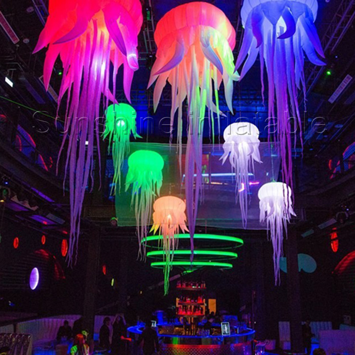 2.5m hot selling glow inflatable medusa inflatable jellyfish balloon inflatable hanging led decoration for Party/event/club