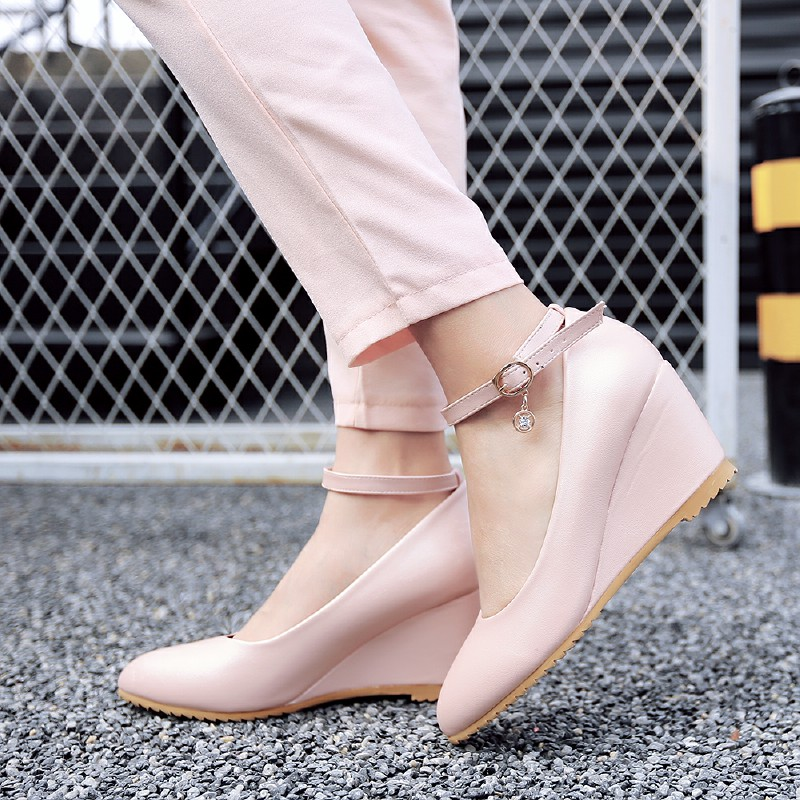 ФОТО Concise Style Women Pumps 2016 Buckle Ankle Strap High Heels Women Wedges Solid Pointed Toe Less Platform Shoes For Lady