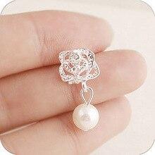 2017 Fashion Camellia Rose imitation pearl earrings female jewelry wholesale free shipping