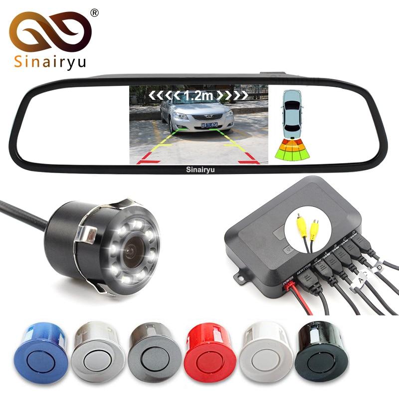 Sinairyu 3in1 4.3 pouce TFT miroir moniteur + caméra de recul + vidéo inverse radar parking capteur parking aider combinaison