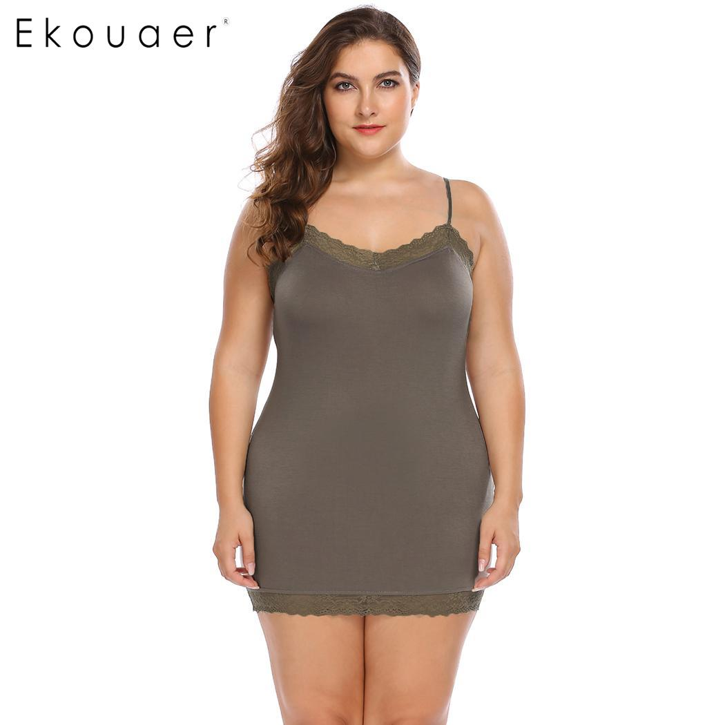 Ekouaer Lingerie Sexy Nightdress Women Plus Size Sleepwear Nightgown V-Neck Lace Patchwork Slim Full Slips Night Dress XL-4XL