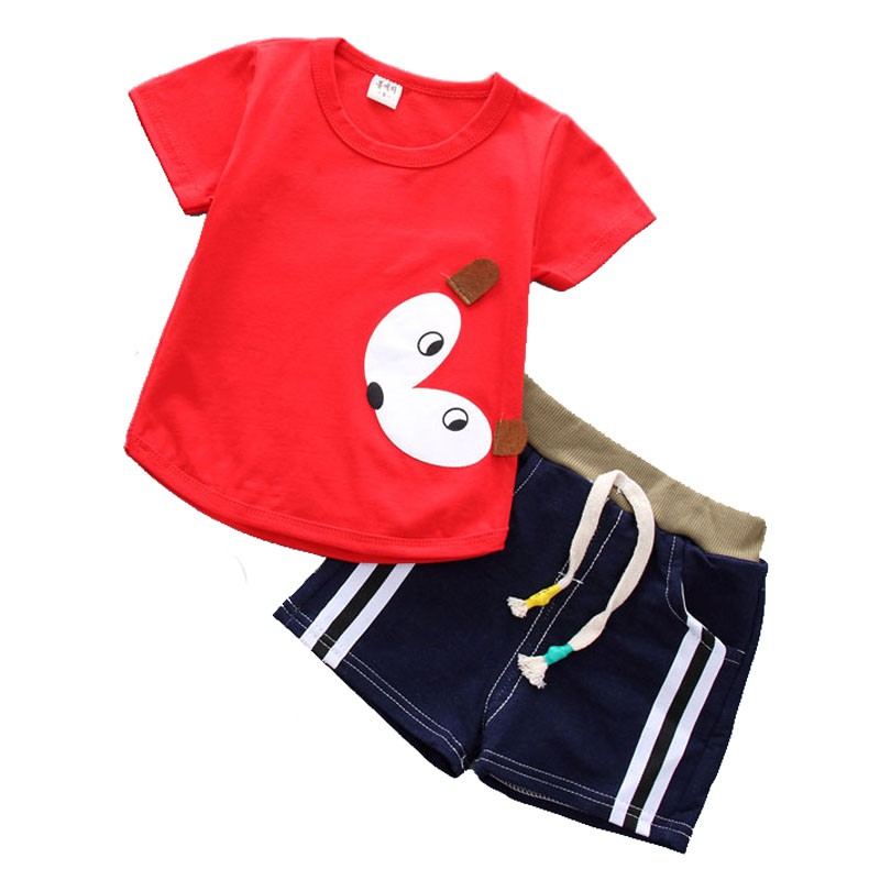 Fashion Baby Sets Two-piece Summer Childrens Thin Short-Sleeve Fox Print T-Shirt + Shorts Comfortable For Dressing