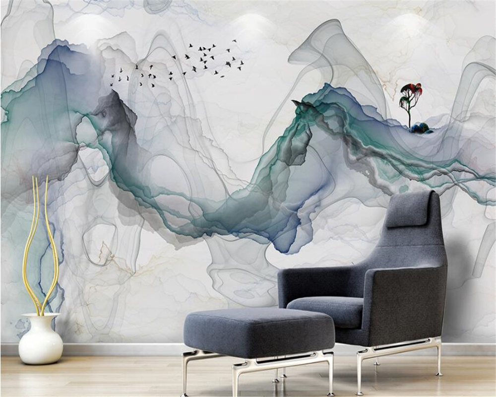 Beibehang 3D photo wall mural Custom wallpaper Artistic abstraction ink landscape TV background wall 3d room wallpaper 3d floor living room white magnolia pattern curved 3d tv background wall manufacturers wholesale wallpaper mural custom photo wall
