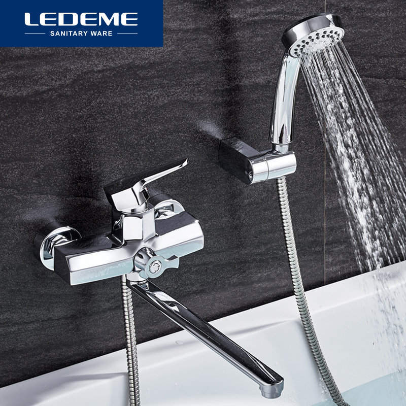 LEDEME 1 Set Bathroom Faucet Cold and Hot Water Mixer Chrome Finished Tap Long Nose Single