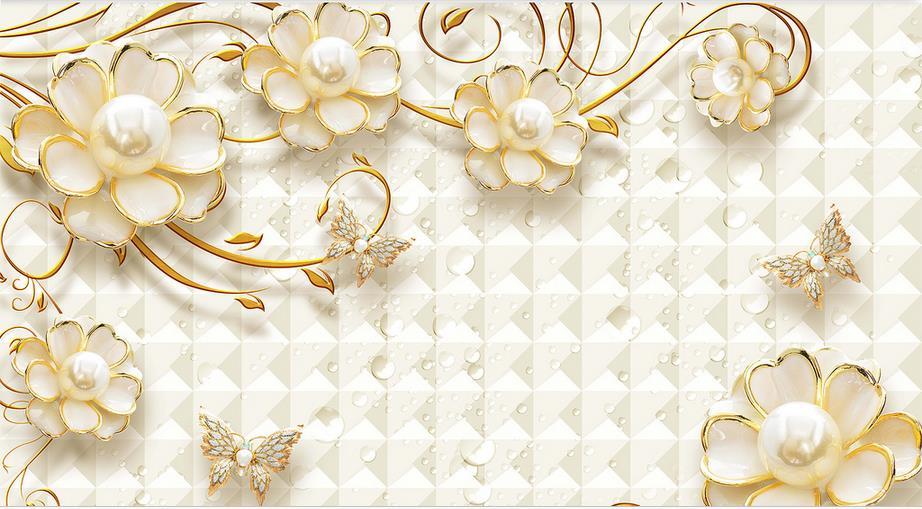 3d Stereoscopic Mural Wallpaper 3d Mural Wallpaper Gold Flower Jewelry Luxury Custom