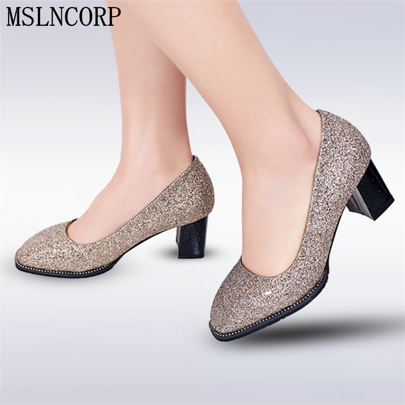 plus size 34-44 Spring Autumn Bling Women Pumps Glitter Fashion high-heeled shoes Square ...