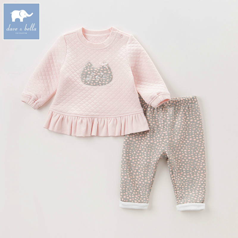 DBM6111 dave bella autumn baby infant girls clothing sets printed suit children toddler outfits high quality