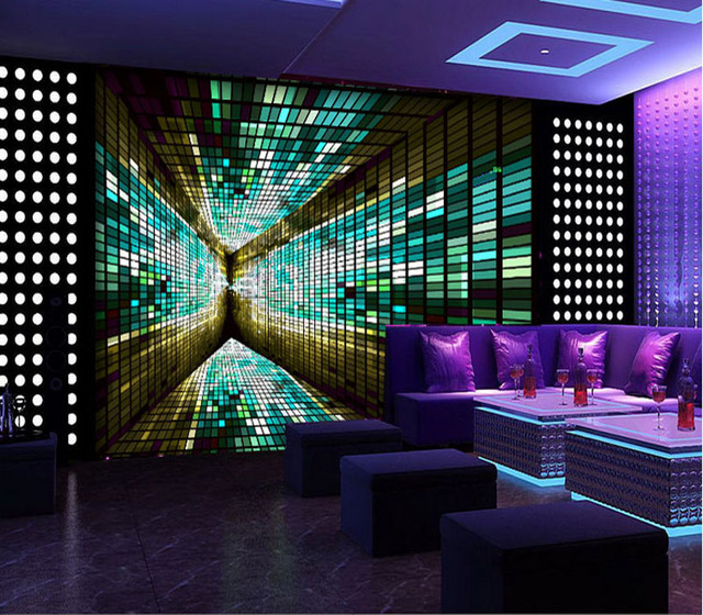 Tuya Art 3D Reflection Poster Mural Wallpaper For Entertainment Club Karaoke Nightclub Studio Wall Decoration