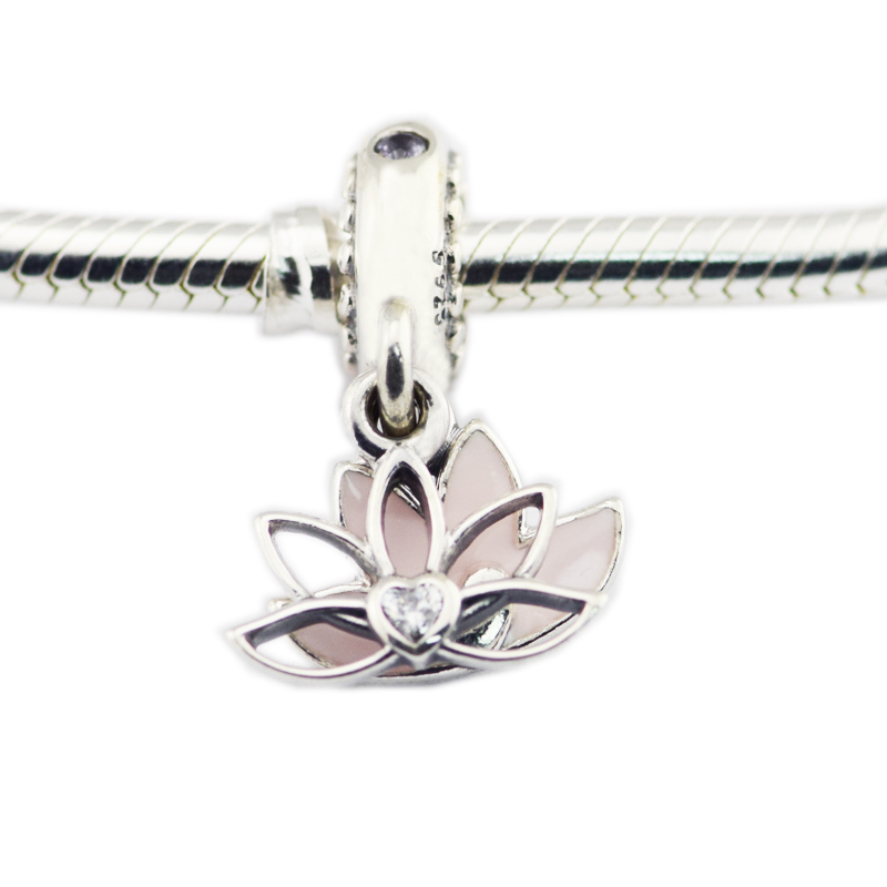 Pandulaso Serene Lotus Flower Hanging Charm Fits Charms 925 Silver Original Bracelets For Woman DIY Beads Jewelry Making