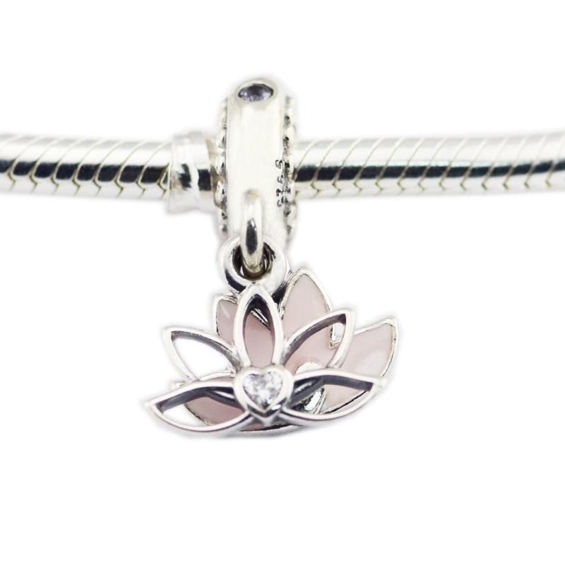 Pandulaso Serene Lotus Flower Hanging Charm Fits Charms 925 Silver Original Bracelets For Woman DIY Beads Jewelry Making