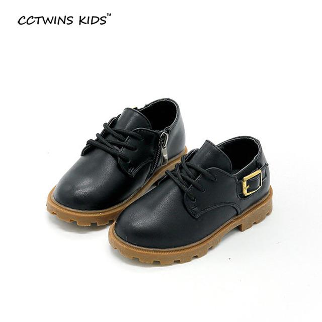 CCTWINS CRIANÇAS primavera do bebê do outono menino moda oxford sapato para a menina plana pu crianças de couro preto sapato casual criança
