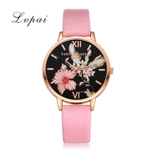 Lvpai Brand Women Bracelet Watch Fashion Rose Gold Flowers Leather Simple Women Dress Watches Luxury Business Gift Clock Watch