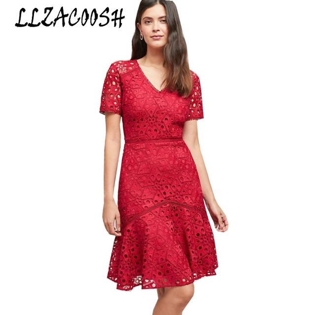3ffd10cf7345 2018 New arrive Self Portrait Runway red Lace dress Women Summer short  sleeve Sexy V-Neck ruffles party Dresses vestidos