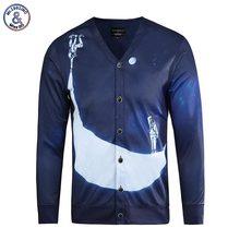Mr.1991INC Hip Hop Fashion Bluse Männer 3d Shirts Langarm V-ausschnitt Taste Tees Tops Mond Shirts