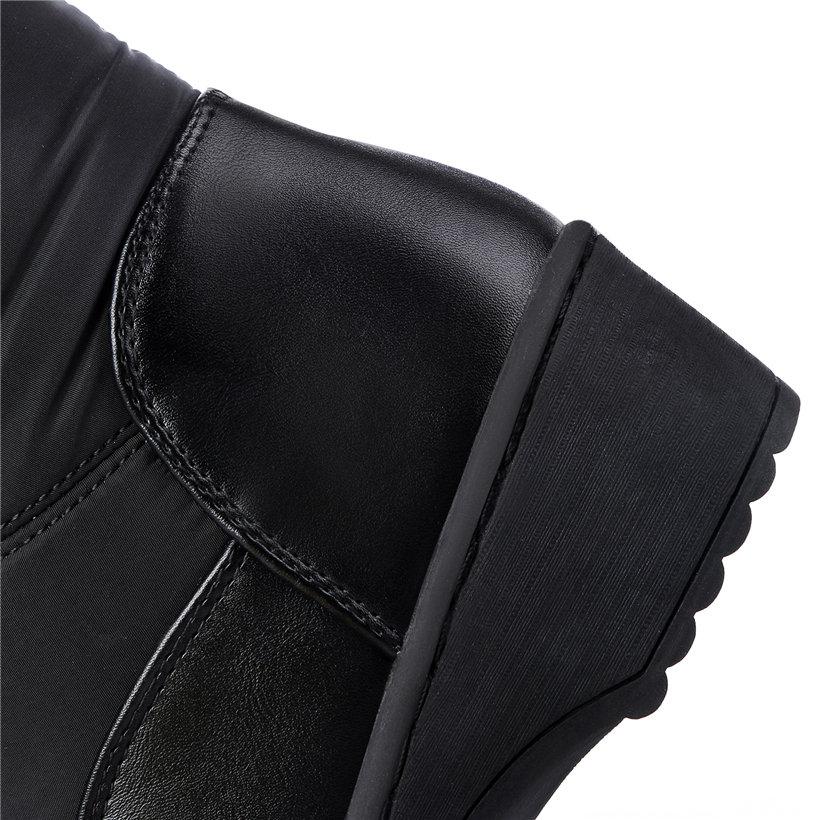 2018 Invierno La 44 Felpa Mujeres Punta Tacón Mid Zapatos Plataforma Botas white Caliente Señoras Black Mitad Plano Más Tamaño Nieve Gruesa red Cercanas calf De Redonda 5rqTB5