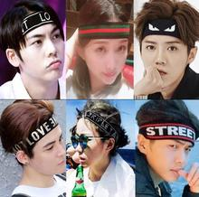 Fashion Unisex Letter Elastic Sports Hair Band Women or Men turban headband Sport sweat-absorbent headscarf man hair Accessories