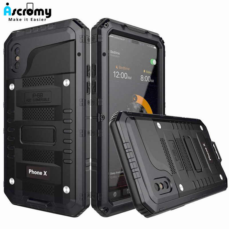 Ascromy ل فون X حالة الثقيلة وعرة درع المدافع غطاء ل فون X 10 8 7 6 6 ثانية زائد IP68 للماء للصدمات كوكه