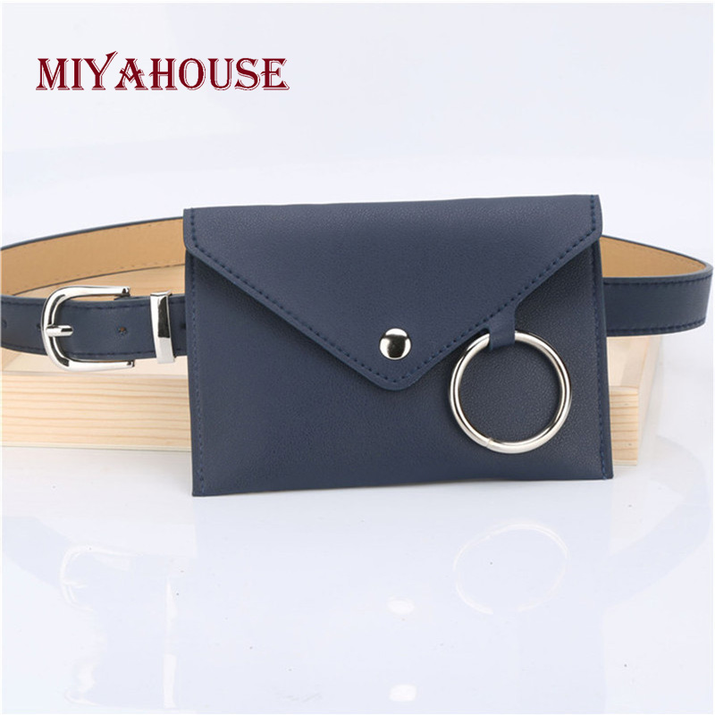 Miyahsoue Fashion Women PU Leather Funny Pack Leather Belt Design Female Waist Pack Solid Color Ladies Waist Bag For Any Sport