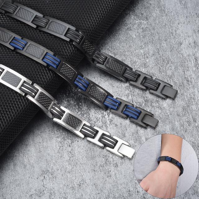 Blue/Black Silicone Energy Germanium Hologram Bracelets