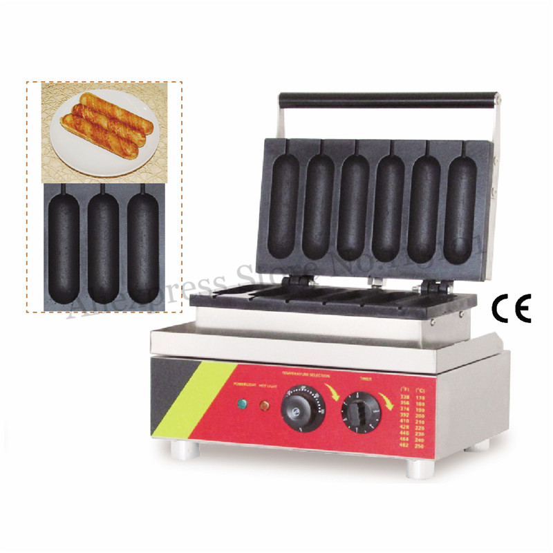 Electric Chicken Stick Baking Machine Stainless Steel Hot Dog Lolly Waffle Maker Commercial Sausage Baking Machine 1500W 6 Molds