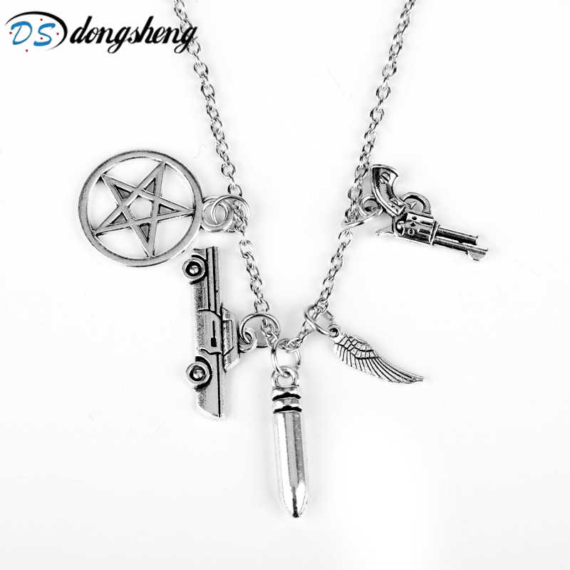 dongsheng Hot Retro Handmade Angel Wing Pentagram Car Gun Pendant Supernatural Protection Chain Necklace Women Men Gift -30