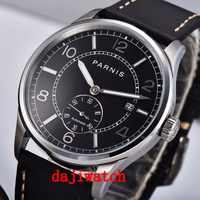 NEW Automatic Mechanical Watch Mens 42mm Parnis black dial calendar Leather