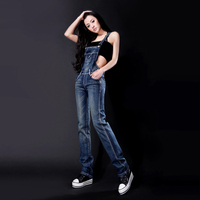 Women Rompers And Jumpsuits For Autumn Ladies Casual Sleeveless Dark Blue Straps Scratch Denim Overall Jumpsuit