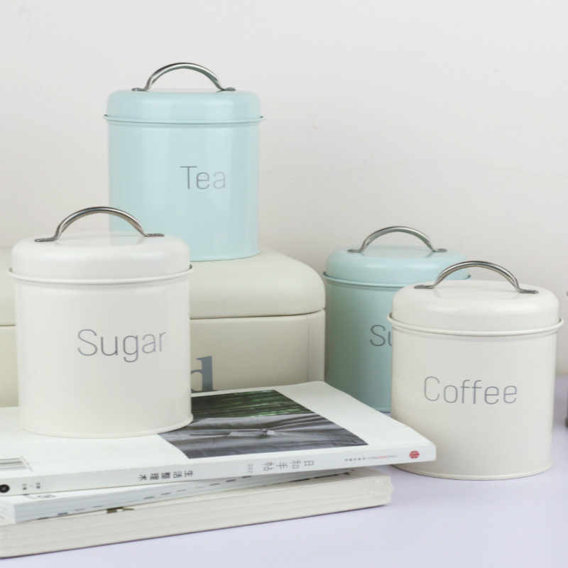Nordic style Storage Tank Steel Kitchen Utensils Multifunction Tea Coffee Sugar Househould Moisture-proof Cover Sealing Quality
