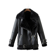 Winter Women Loose Casual Jacket Fur Belted Leather Coat Casual