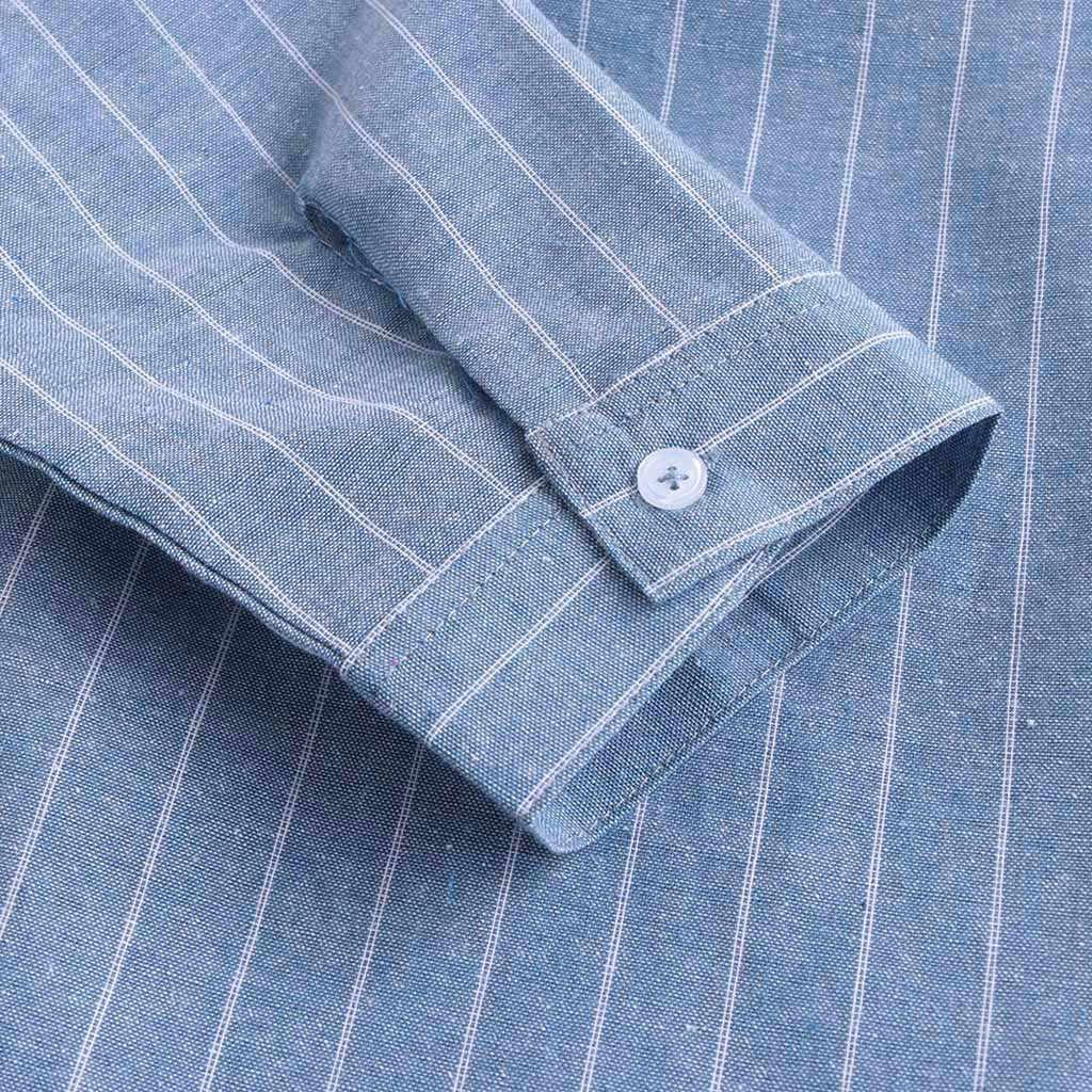 カミーサ masculina 男性のシャツシュミーズ夏カジュアルストライプは襟 7 点袖ボタンコットンシャツトップアロハシャツ